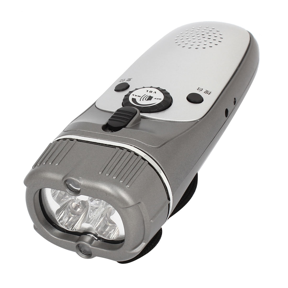 Outdoor Hand Crank FM Radio White Light LED Torch Flashlight