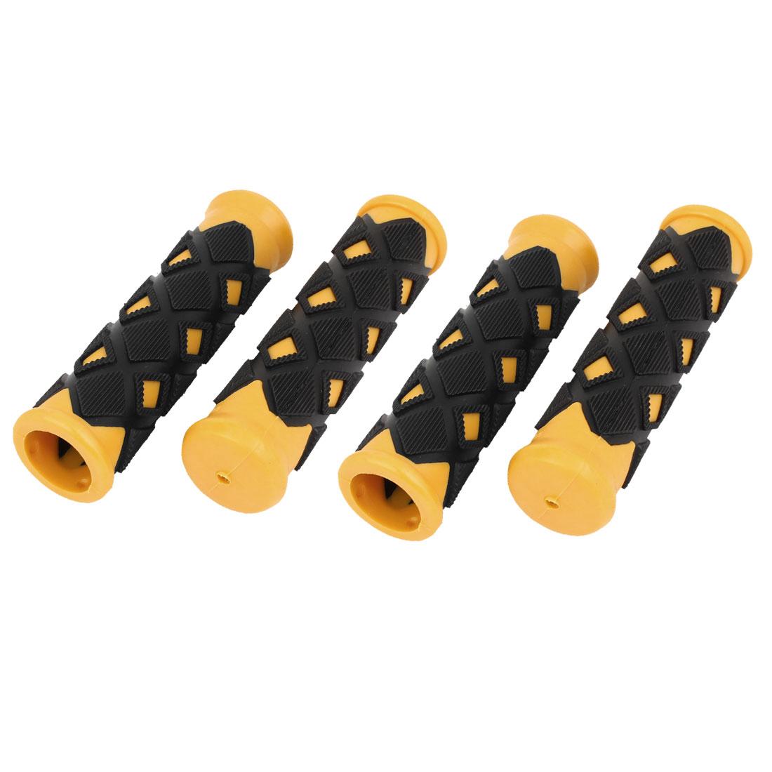 4 Pcs Lozenge Shaped Black Yellow Rubber Non Slip Bike Bicycle Handlebar Grip