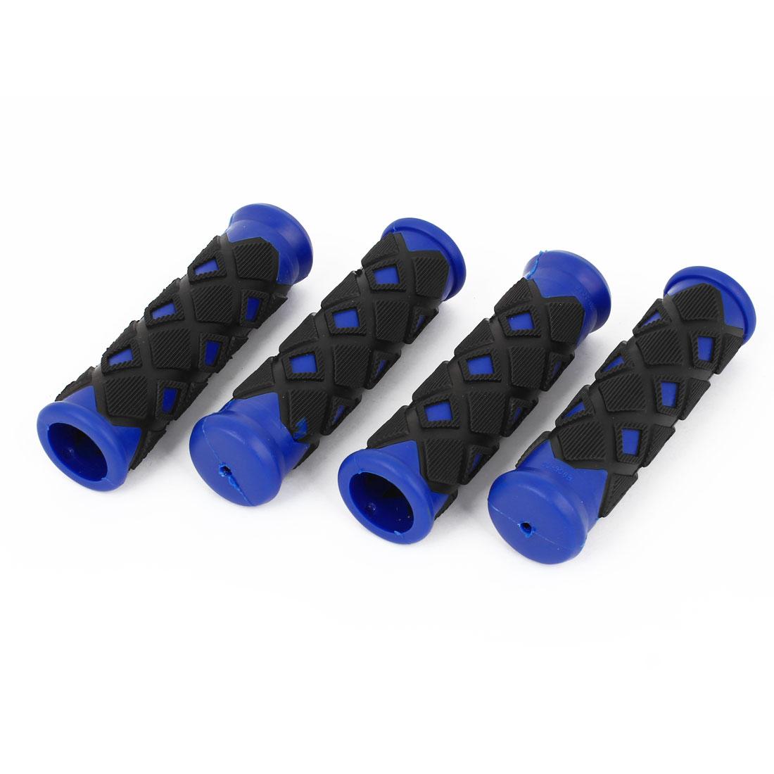 Lozenge Design Nonslip Rubber Bike Handlebar Hand Grip Cover Black Blue 4 Pcs