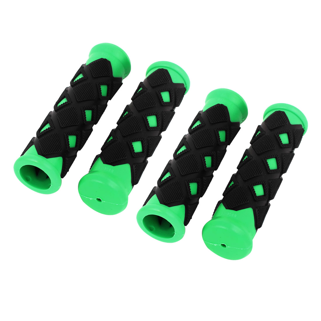 Lozenge Design Antislip Rubber Bike Handlebar Hand Grip Cover Black Green 4 Pcs