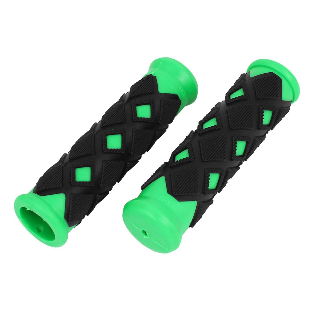 Black Green Lozenge Design Nonslip Rubber Bike Handlebar Hand Grip Cover 2 Pcs