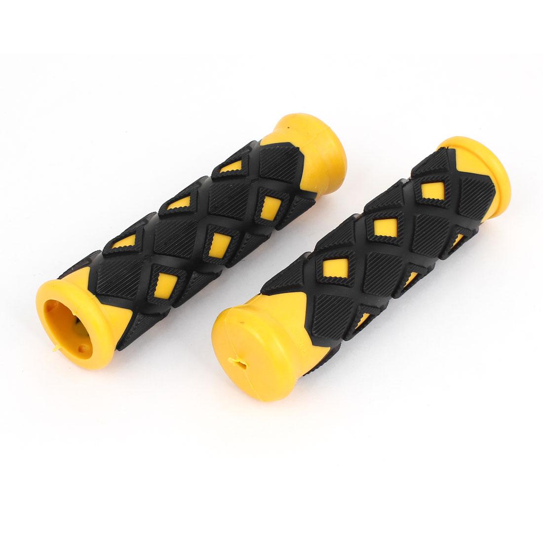 2 Pcs Lozenge Shaped Black Yellow Non Slip Rubber Bike Bicycle Handlebar Grip