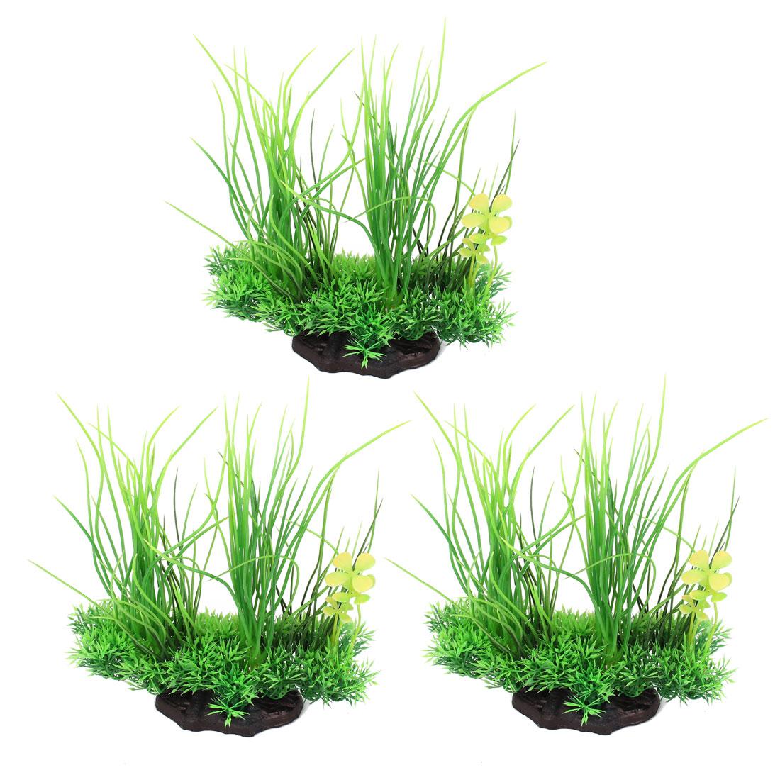 """Fish Tank Flower Accent Emulational Aquatic Grass Green 7.1"""" Height 3 Pcs"""