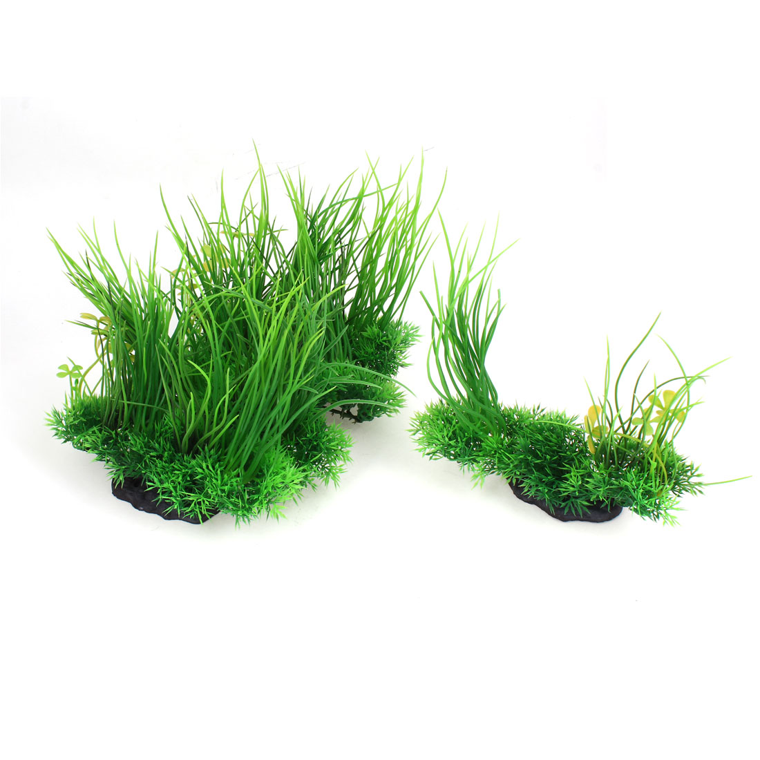 "Aquarium Flower Detail Manmade Plastic Aquatic Grass Green 7.5"" High 5 Pcs"