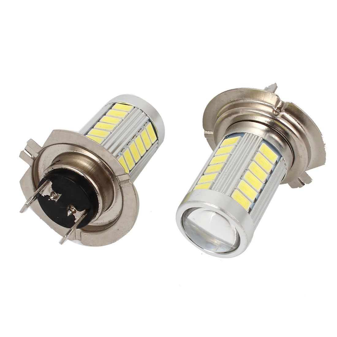 2 Pcs Car H7 33 5630 SMD LED Lens White DRL Foglight Headlight Bulb 12V
