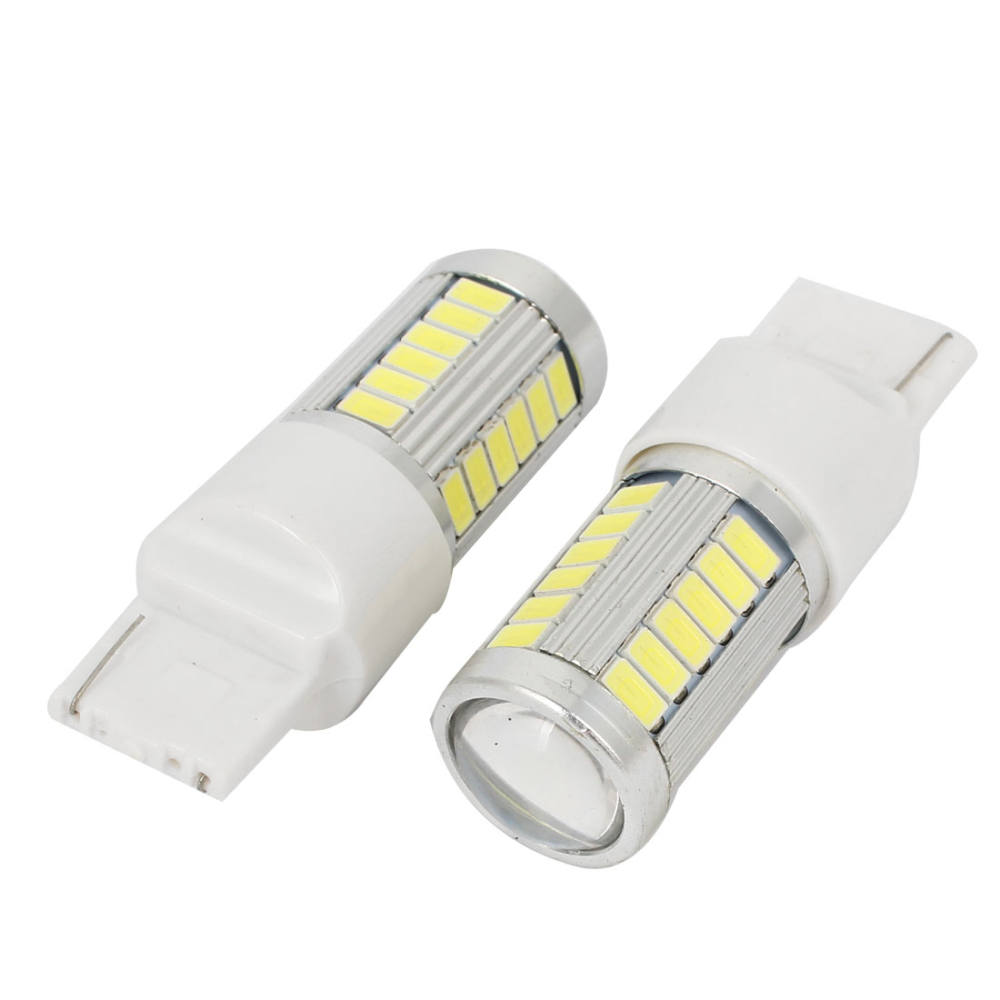 2 Pcs T20 7440 33 5630 SMD LED Lens Light Turning Signal Lamp White for Car