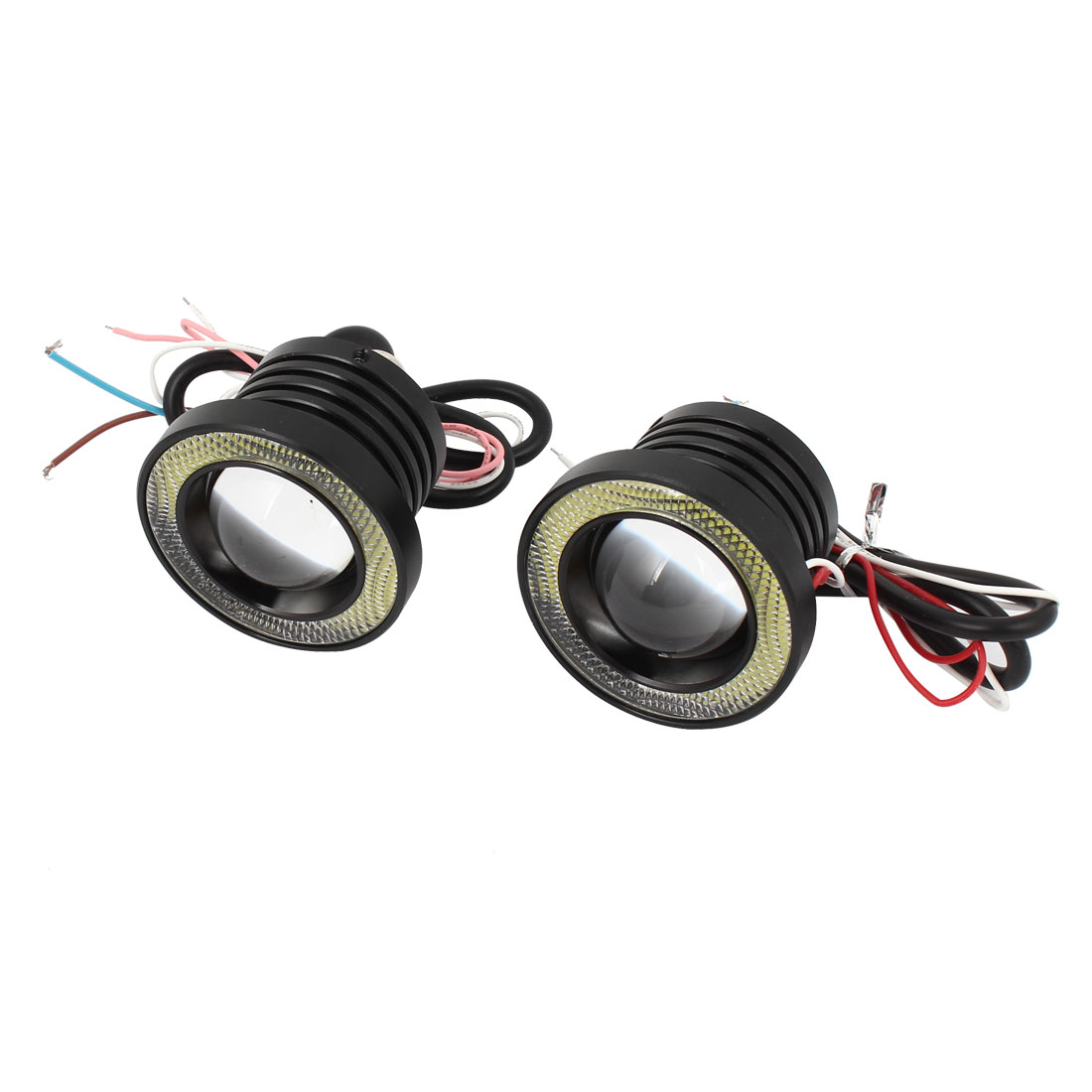 2 Pcs White Angel Eyes Light Lamp Foglight COB Cup 30W 64mm Dia for Auto Car