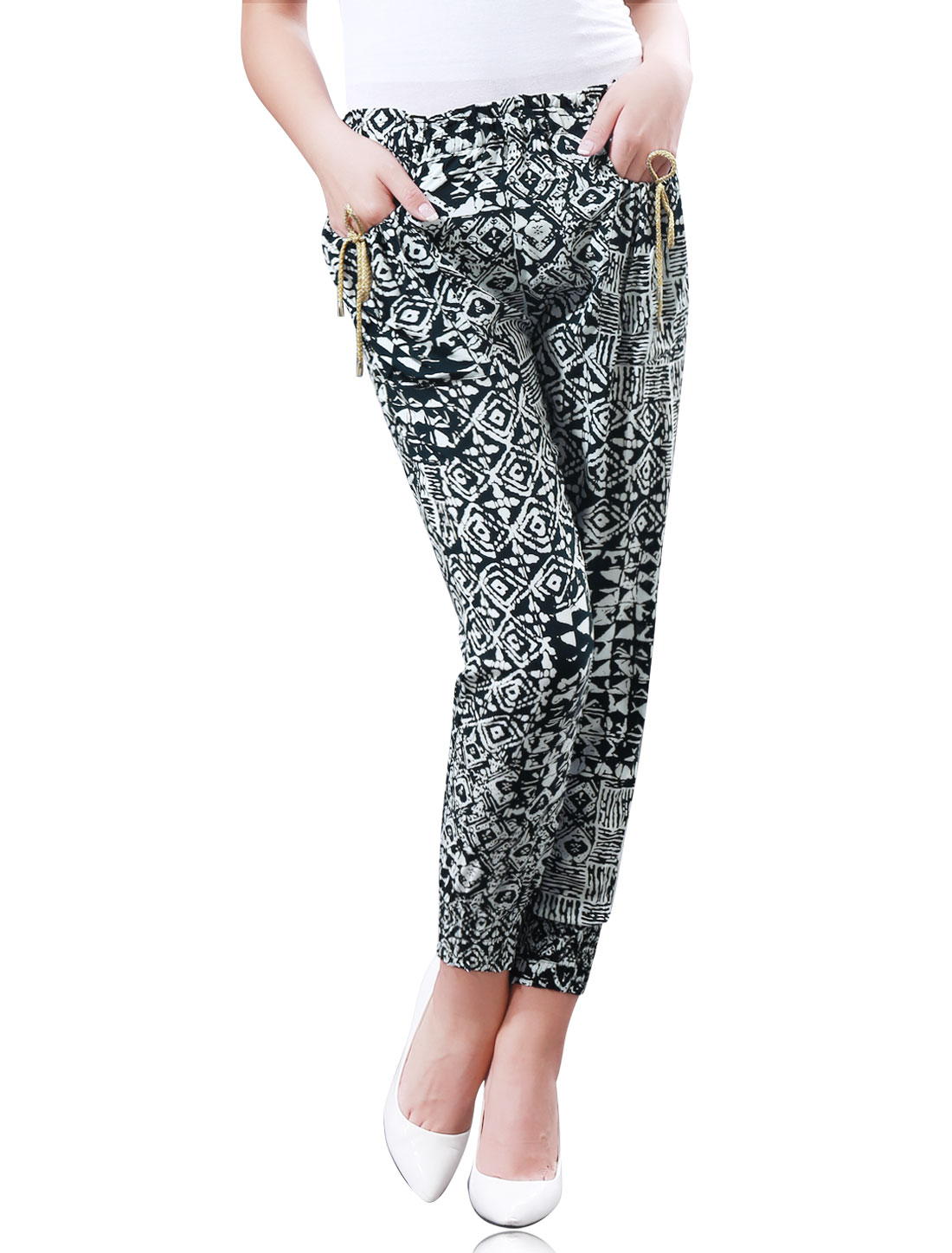 Women Stretch Waist All Over Geometric Novelty Print Jogger Pants Navy Blue White S
