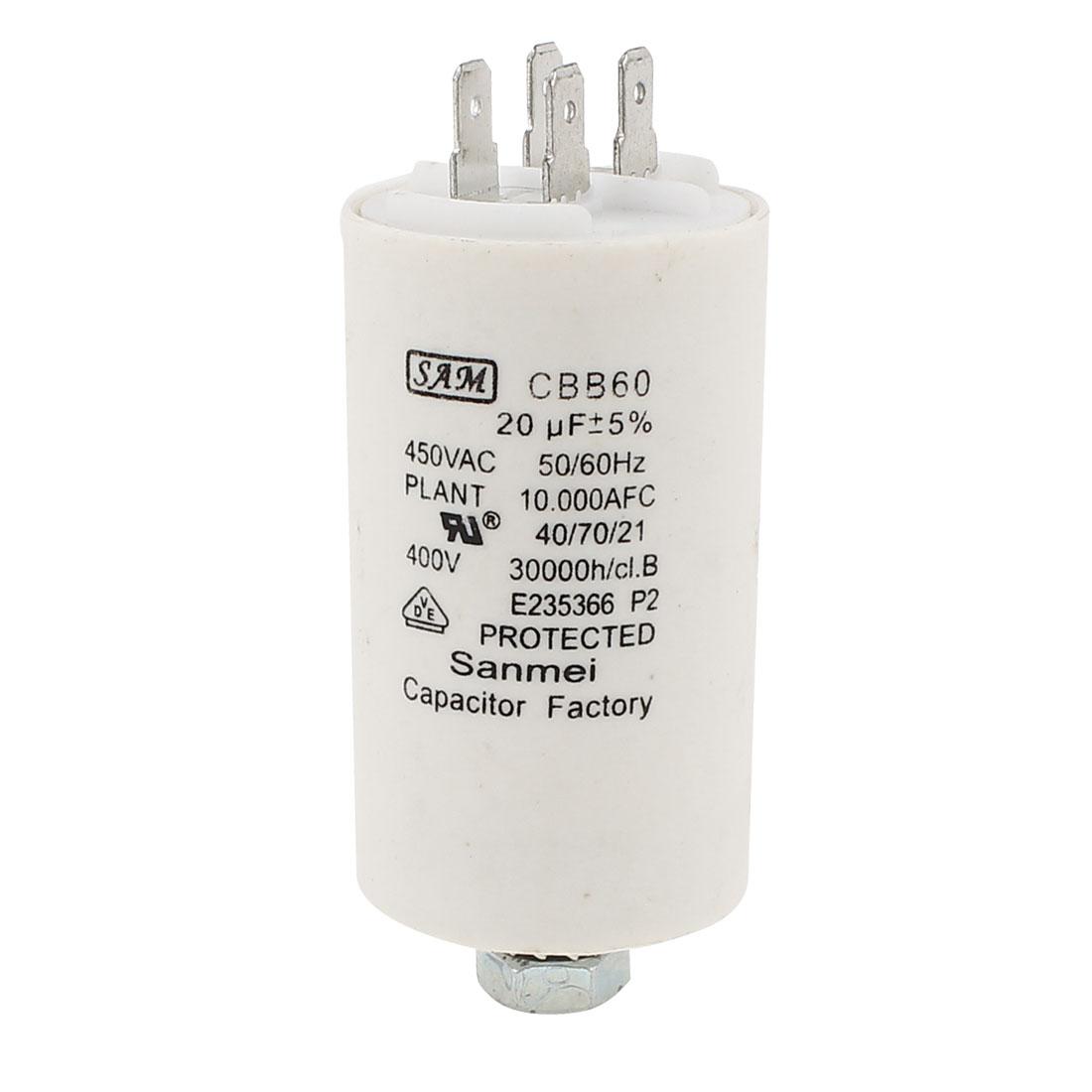AC450V 50/60Hz 20uF Cylindrical Polypropylene Film Motor Capacitor CBB60