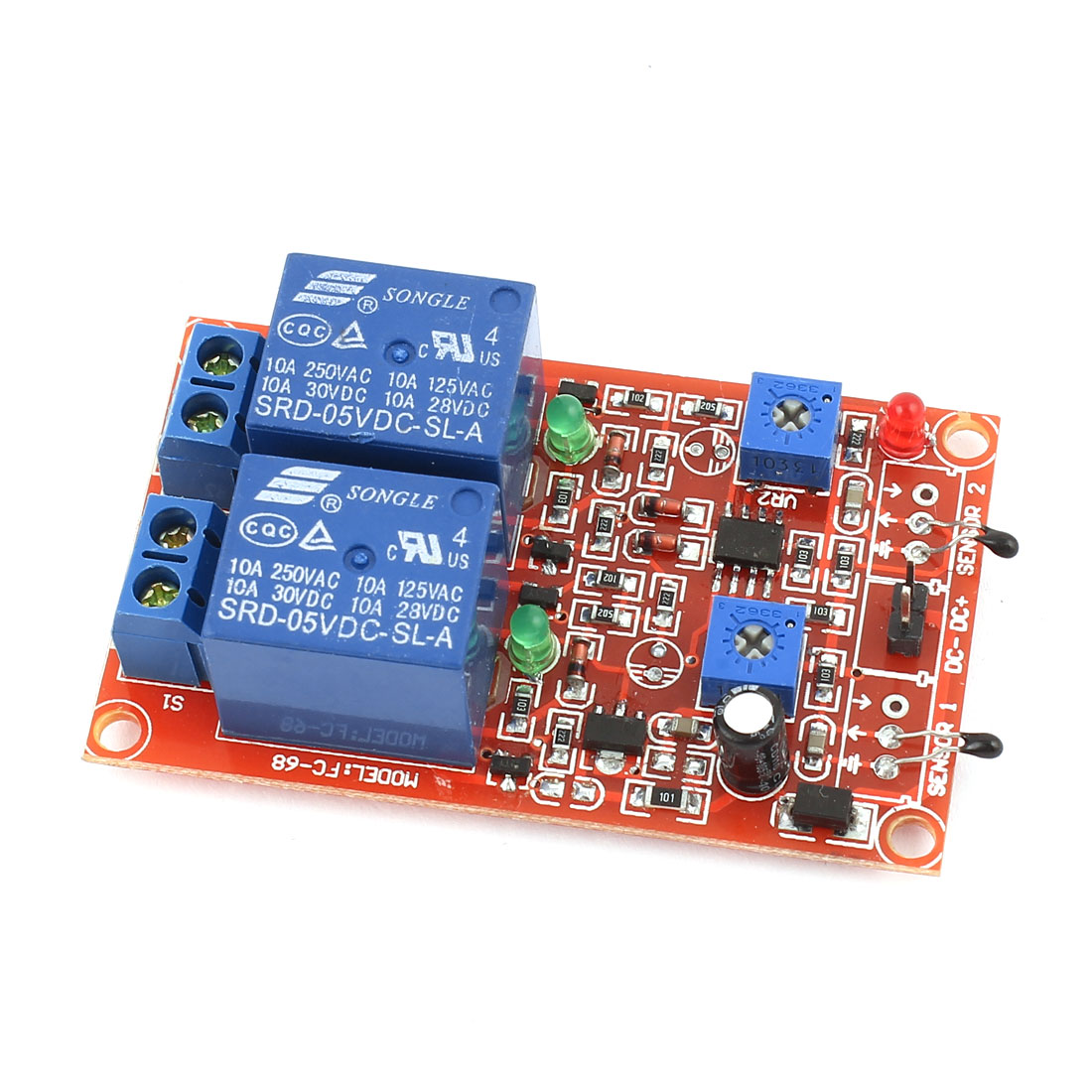 DC5V 2-CH Universal Temperature Thermal Sensor Relay Module Red Blue