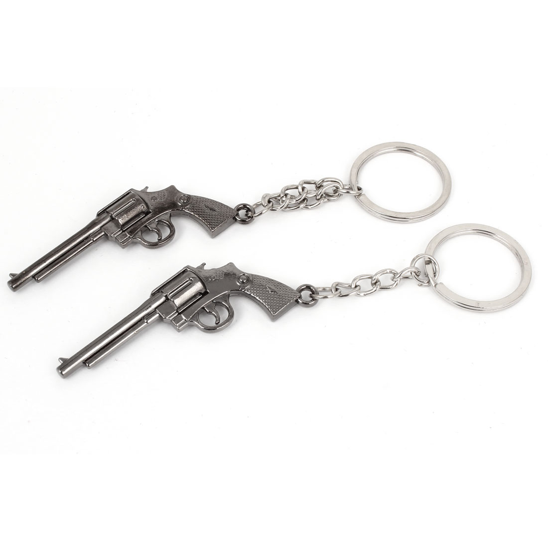Silver Tone Single Ring Handgun Design Pendants Metal Key Holder Keychain 2pcs