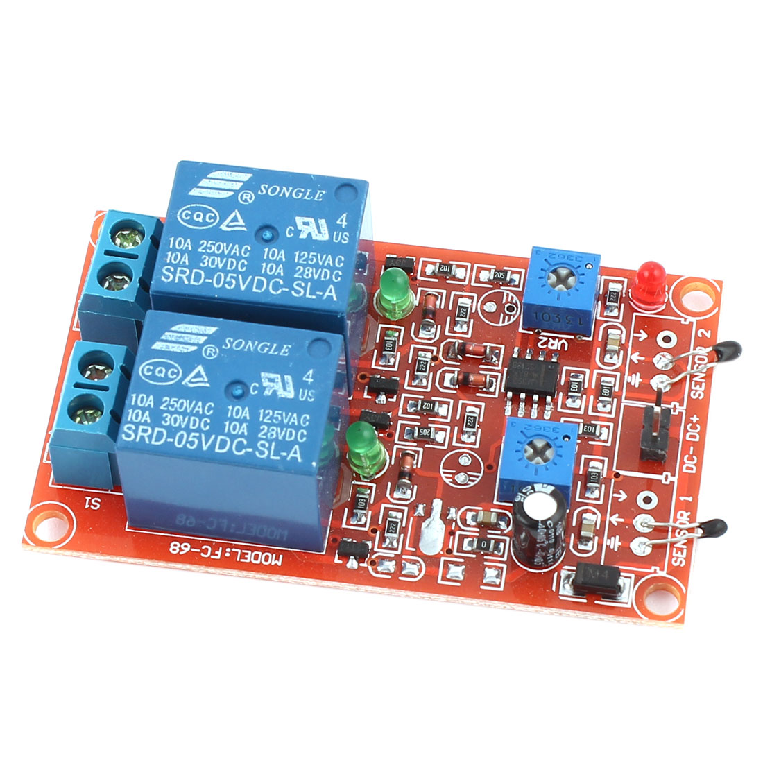 DC5V 2-CH Thermistor Switch Sensor Relay Module Board w Wire Connector