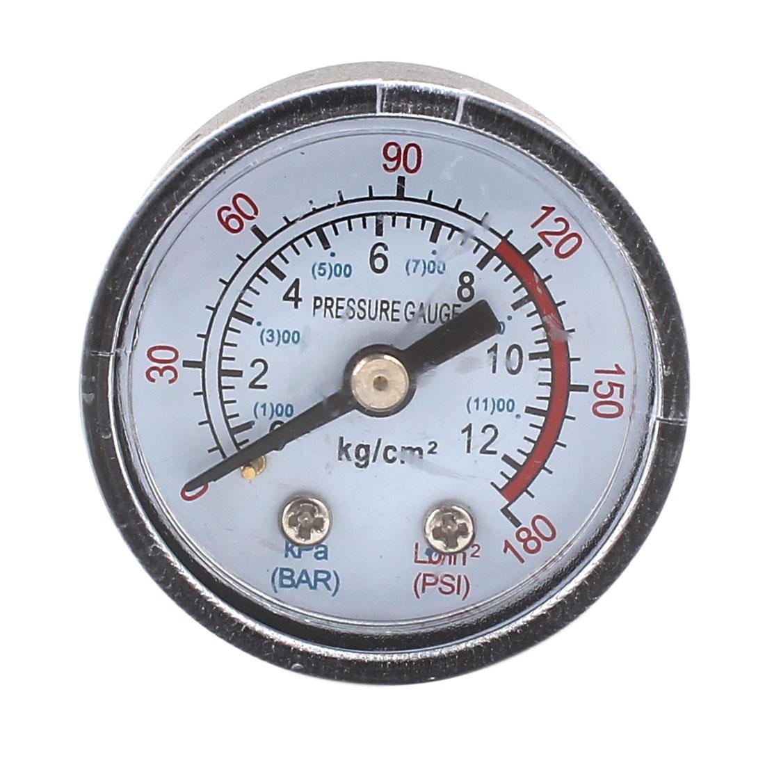 1/8PT Male Thread Round Dial 0-180PSI 0-12BAR Pressure Gauge