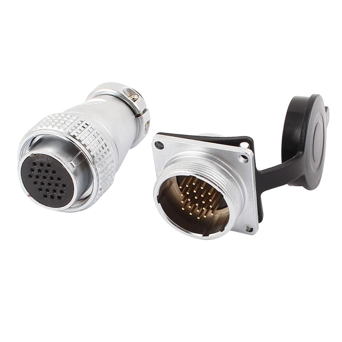 AC500V 10A 30mm Threaded Dia 24Pins Aviation Connector Socket