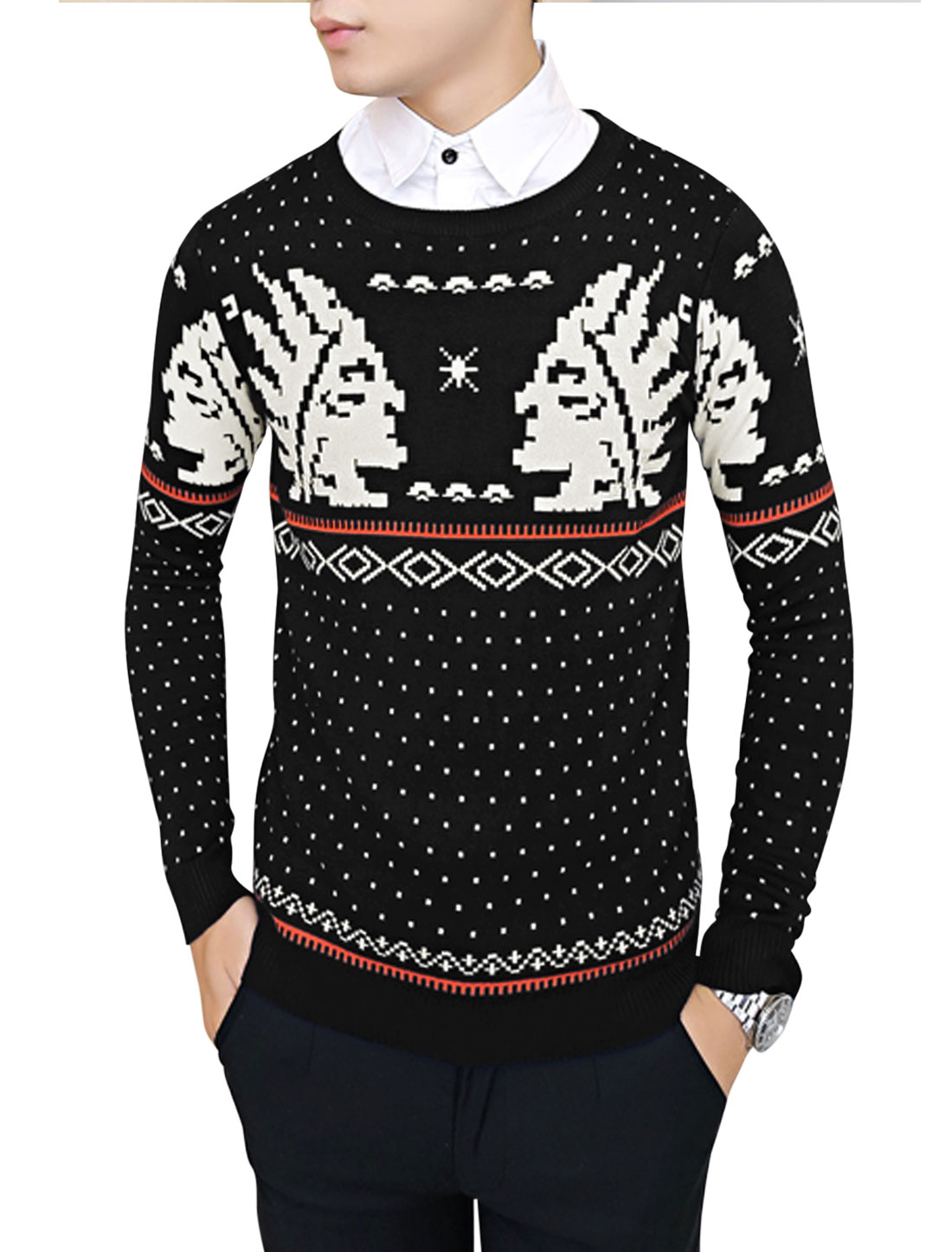 Men Pullover Geometric Portrait Pattern Casual Knit Shirt Black S