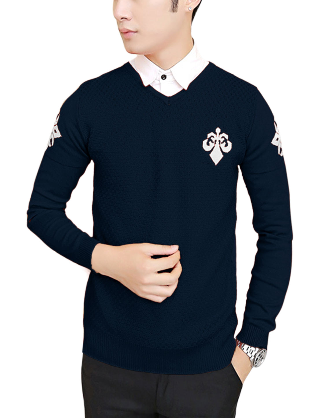 Men Pullover V Neck Letters Pattern Cozy Fit Knit Shirt Navy Blue M