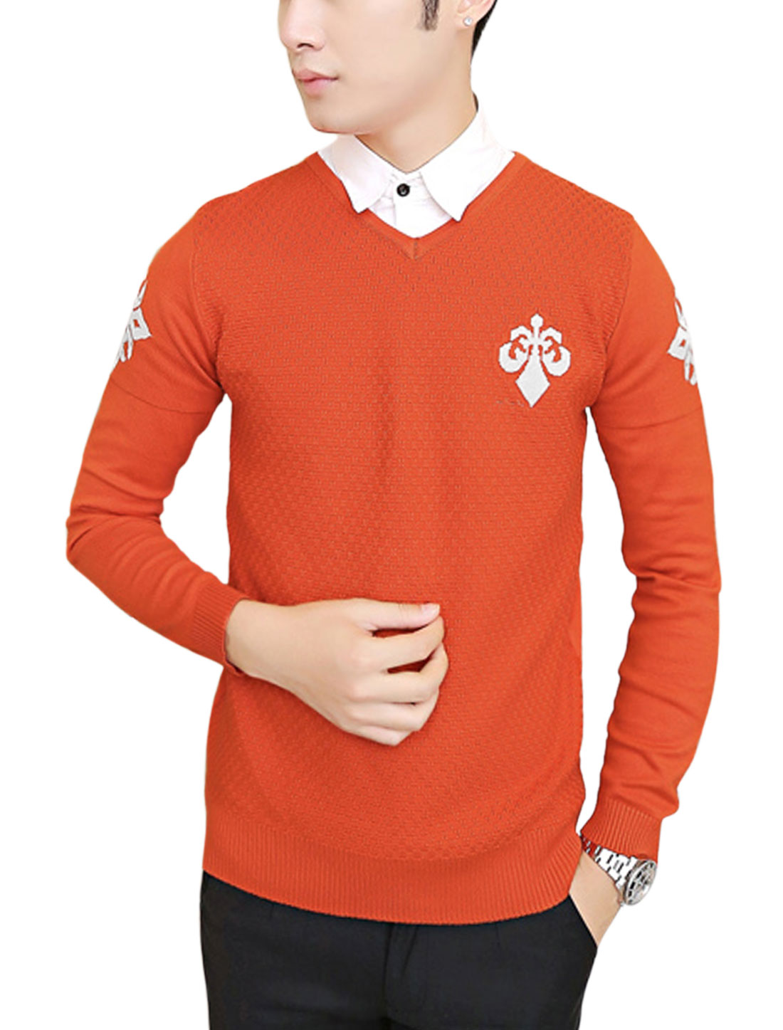Slim Fit Pullover V Neck Letters Pattern Knit Shirt for Men Orange Red M