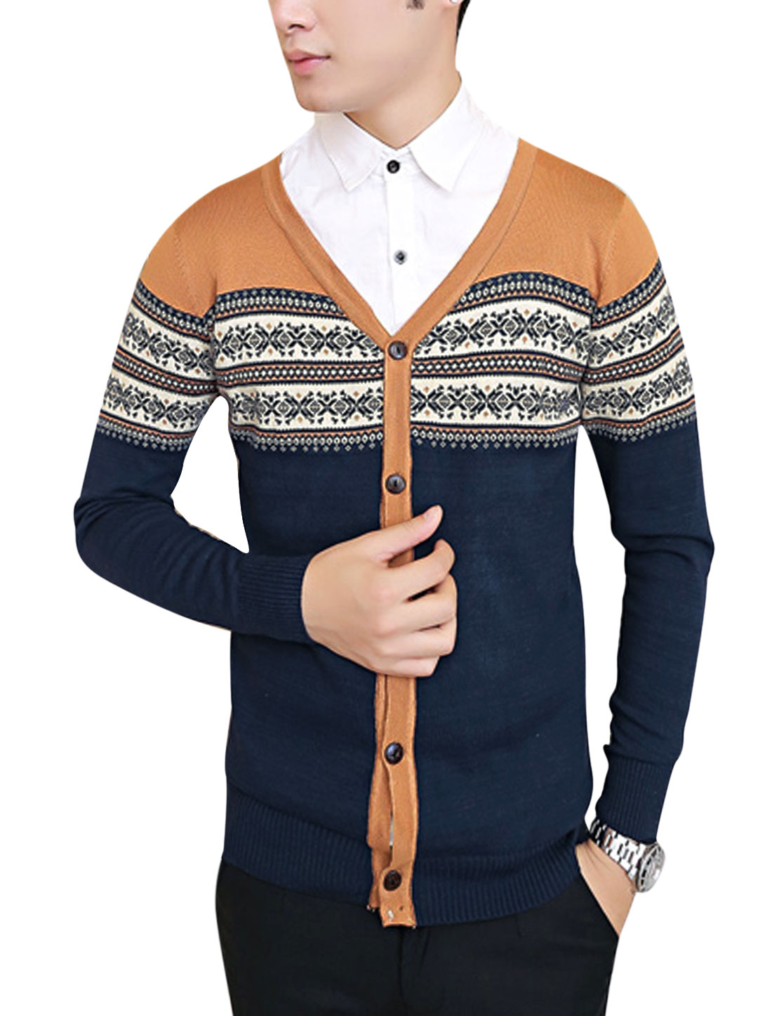 Men Geometric Pattern Color Block Single Breasted Cardigan Camel Navy Blue S