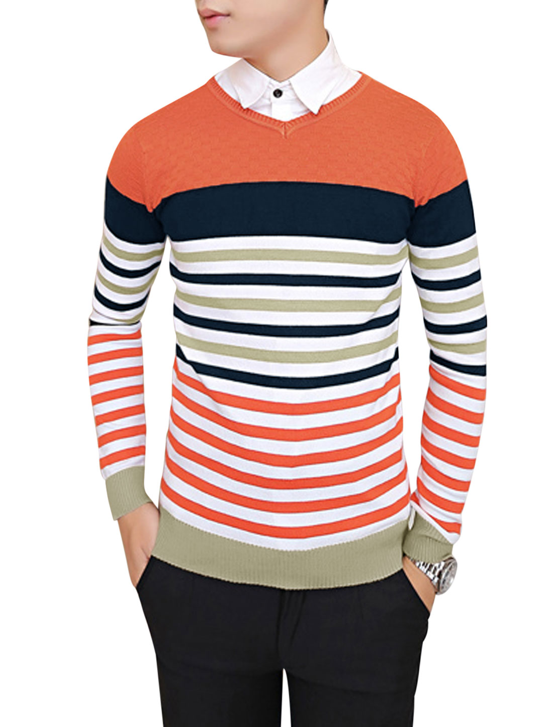 Men V Neck Horizontal Stripes Ribbed Hem Knit Shirt Orange Red S