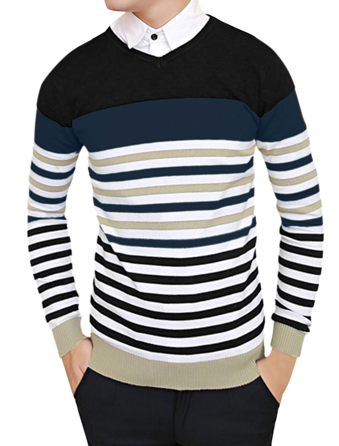 Men Pullover Long Sleeve Horizontal Stripes Casual Knit Shirt Black S