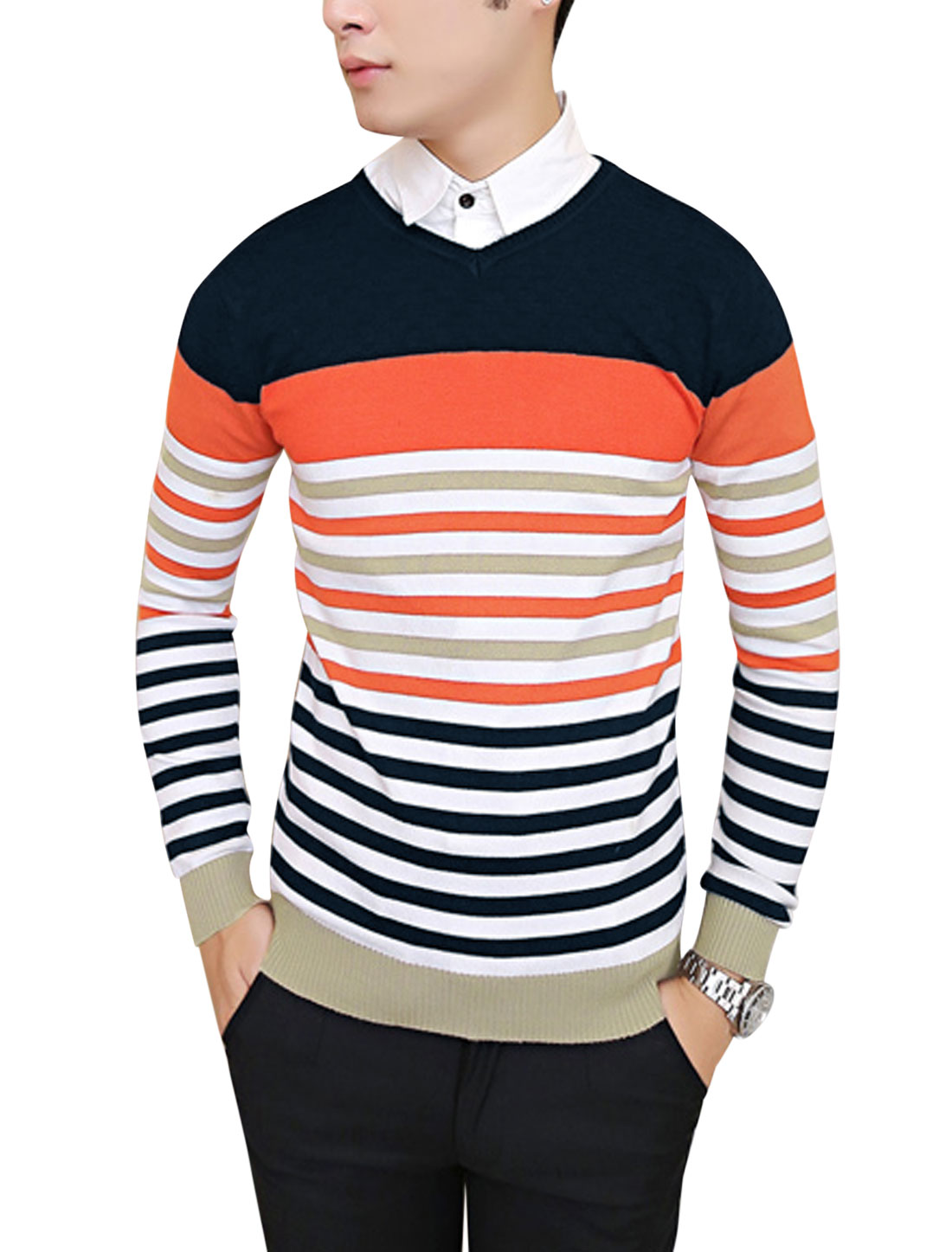 Men Slipover Bar Striped Long Sleeve Slim Knit Shirt Navy Blue S