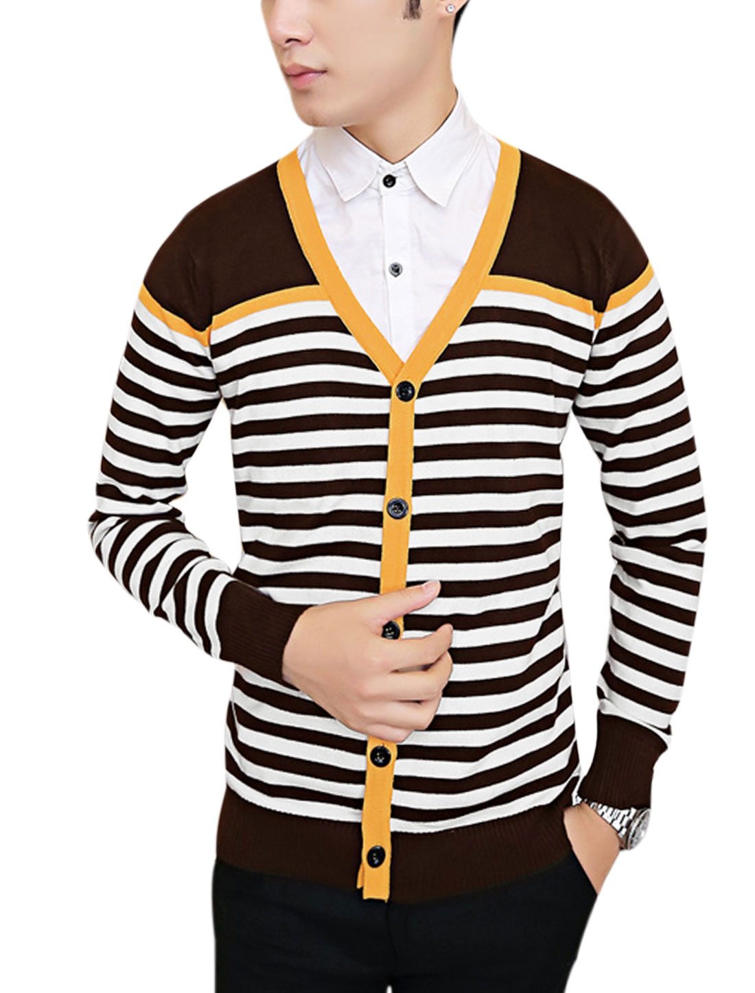 Men V Neck Color Block Stripes Single Breasted Slim Cardigan Coffee S