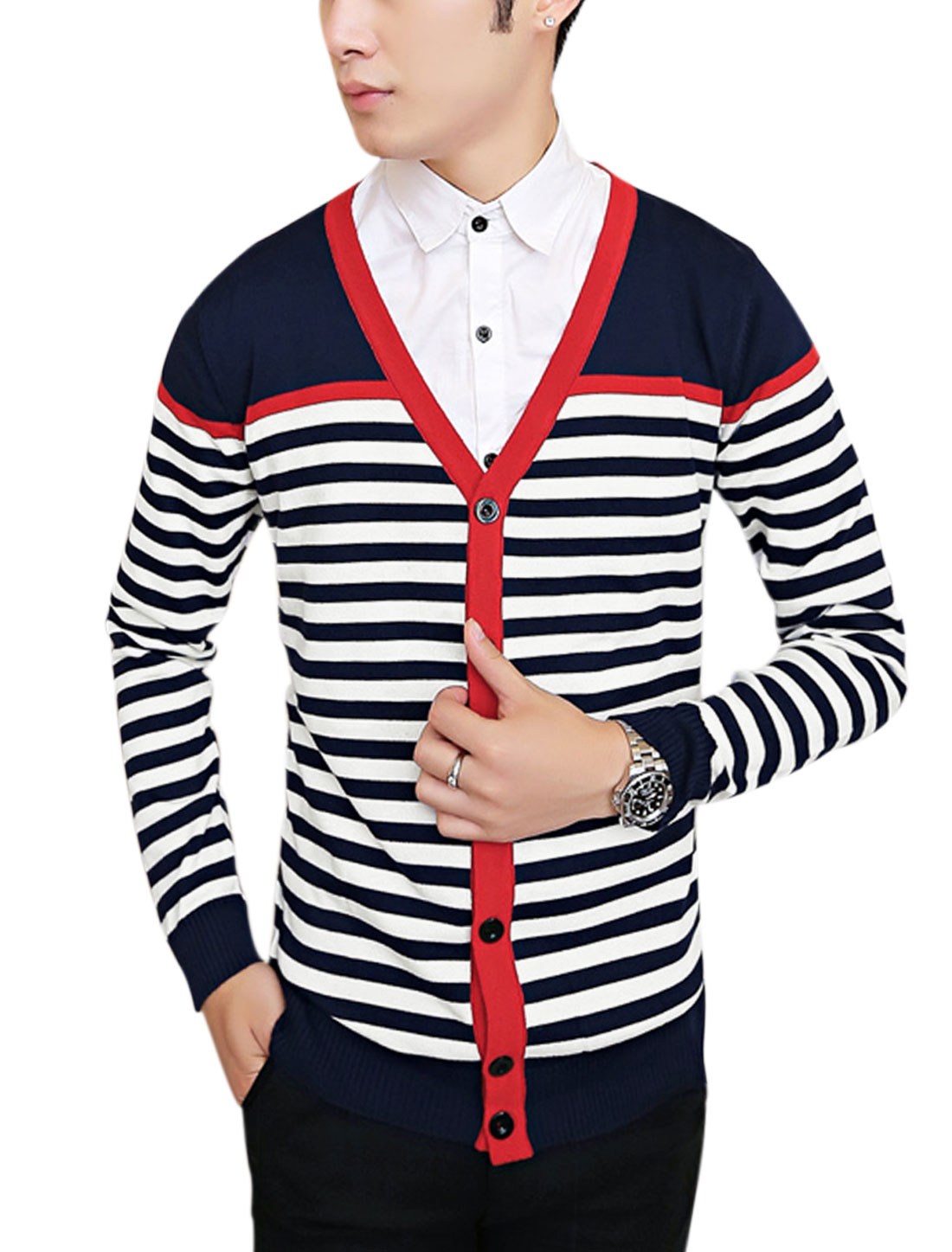 Men Button Closure Front Color Block Slim Casual Cardigan Navy Blue S