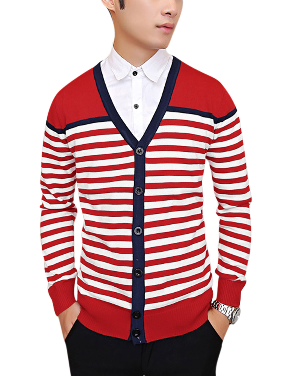 Men Contrast Color Stripes Single Breasted Casual Cardigan Red S