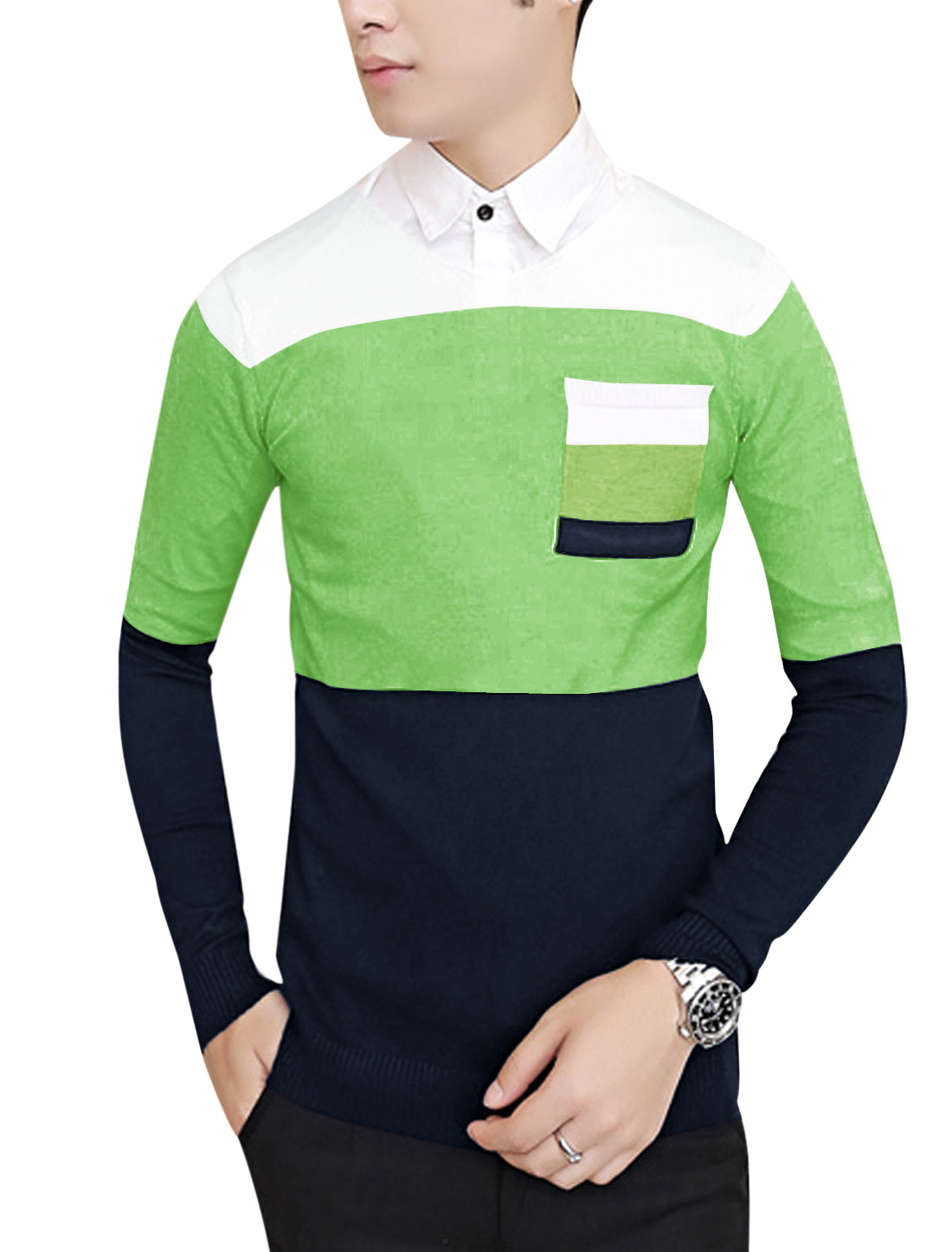 Men Color Block One Chest Pocket Knit Shirt Apple Green Navy Blue S