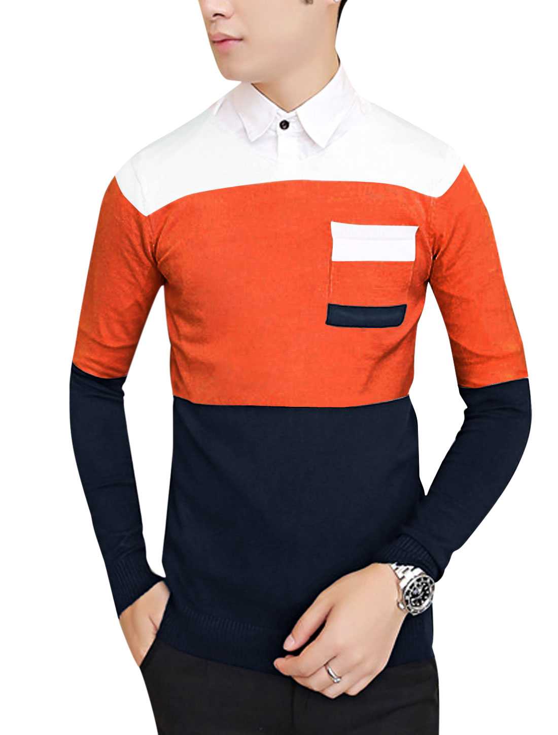 Men Pullover Color Block Slim Knit Shirt Orange Red Navy Blue S