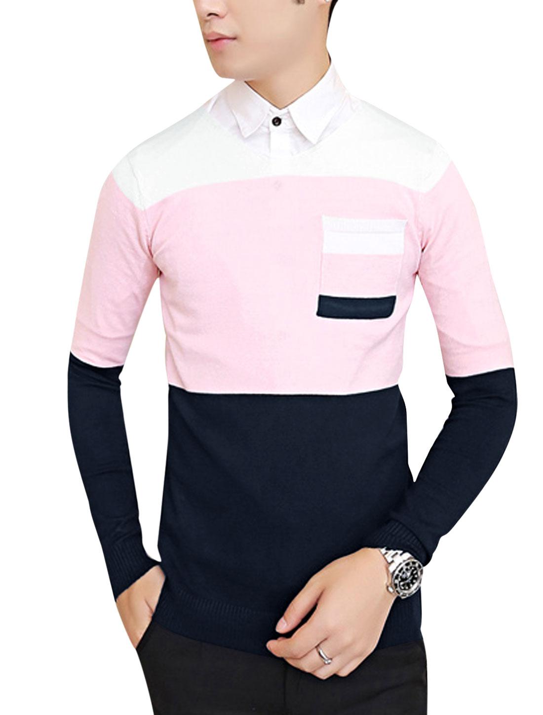 Men V Neck Contrast Color Casual Knit Shirt Pink Navy Blue S