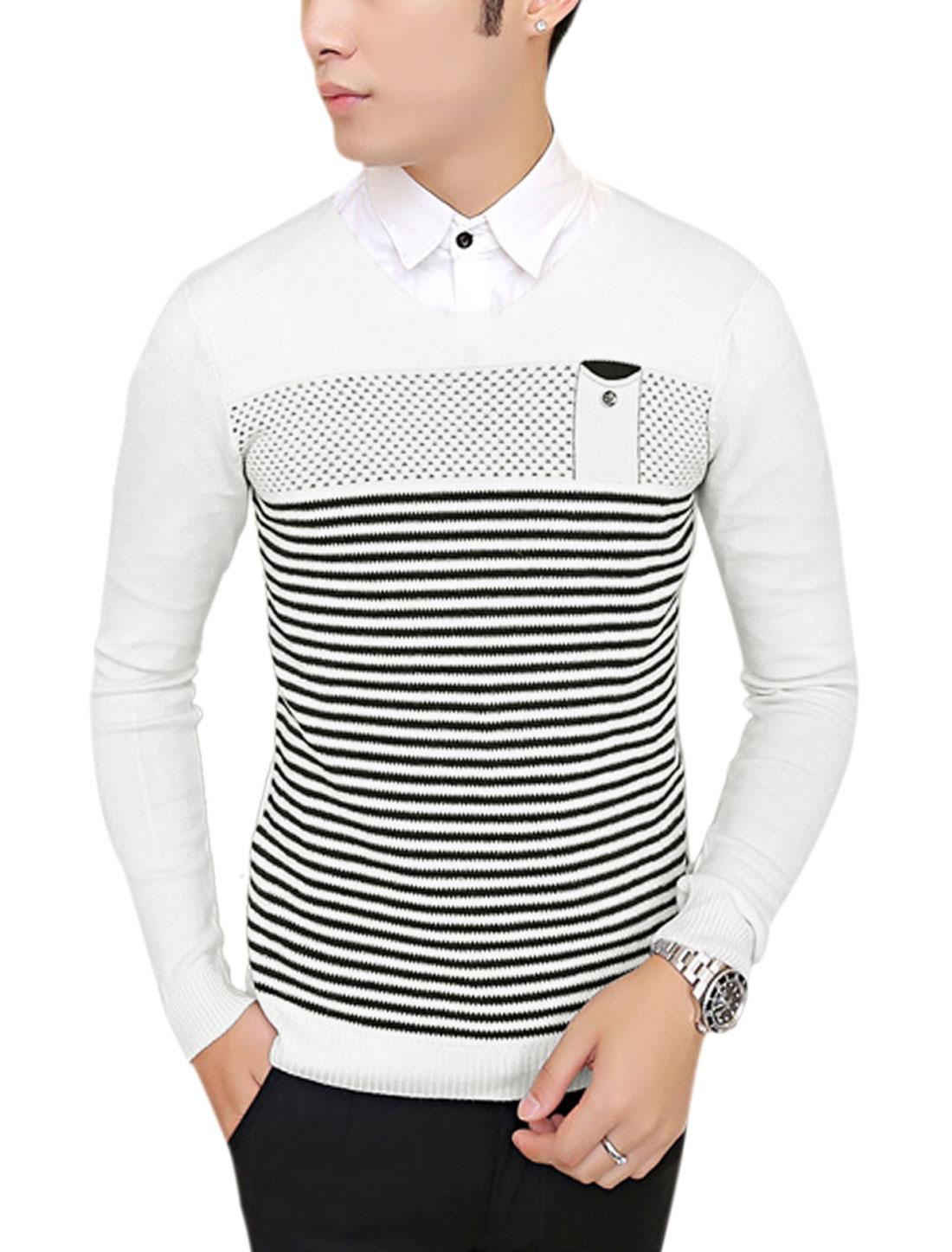 Men V Neck Stripes One Chest Pocket Ribbed Hem Casual Knit Shirt White S