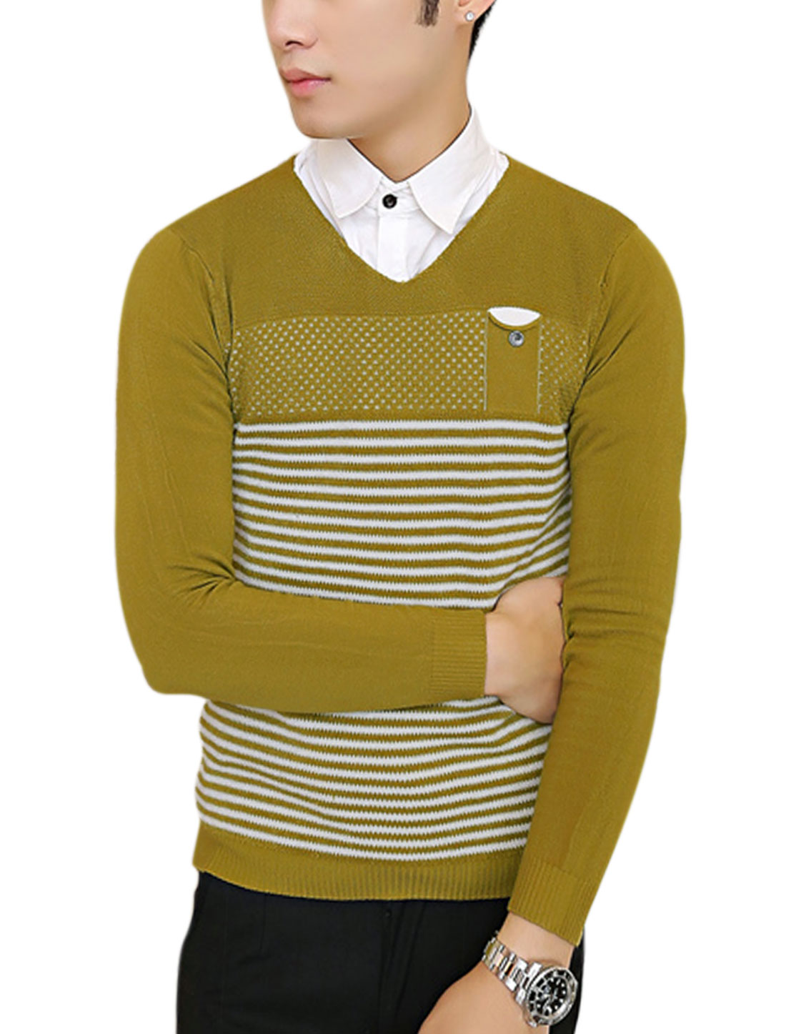 Men Long Sleeve Stripes Pullover Casual Slim Knit Shirt Ochre S