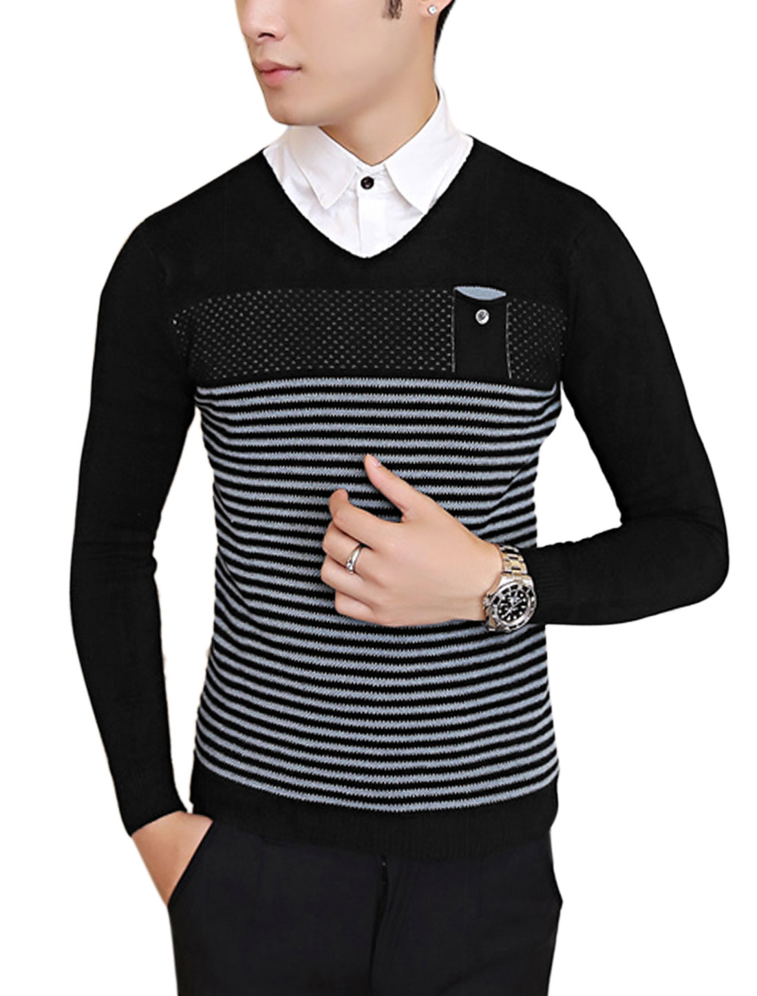 Men Slipover Bar Striped Long Sleeve Casual Slim Knit Shirt Black S