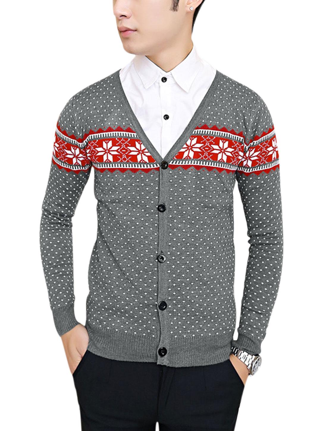 Men Geometric Pattern Single Breasted Ribbed Hem Casual Cardigan Gray S