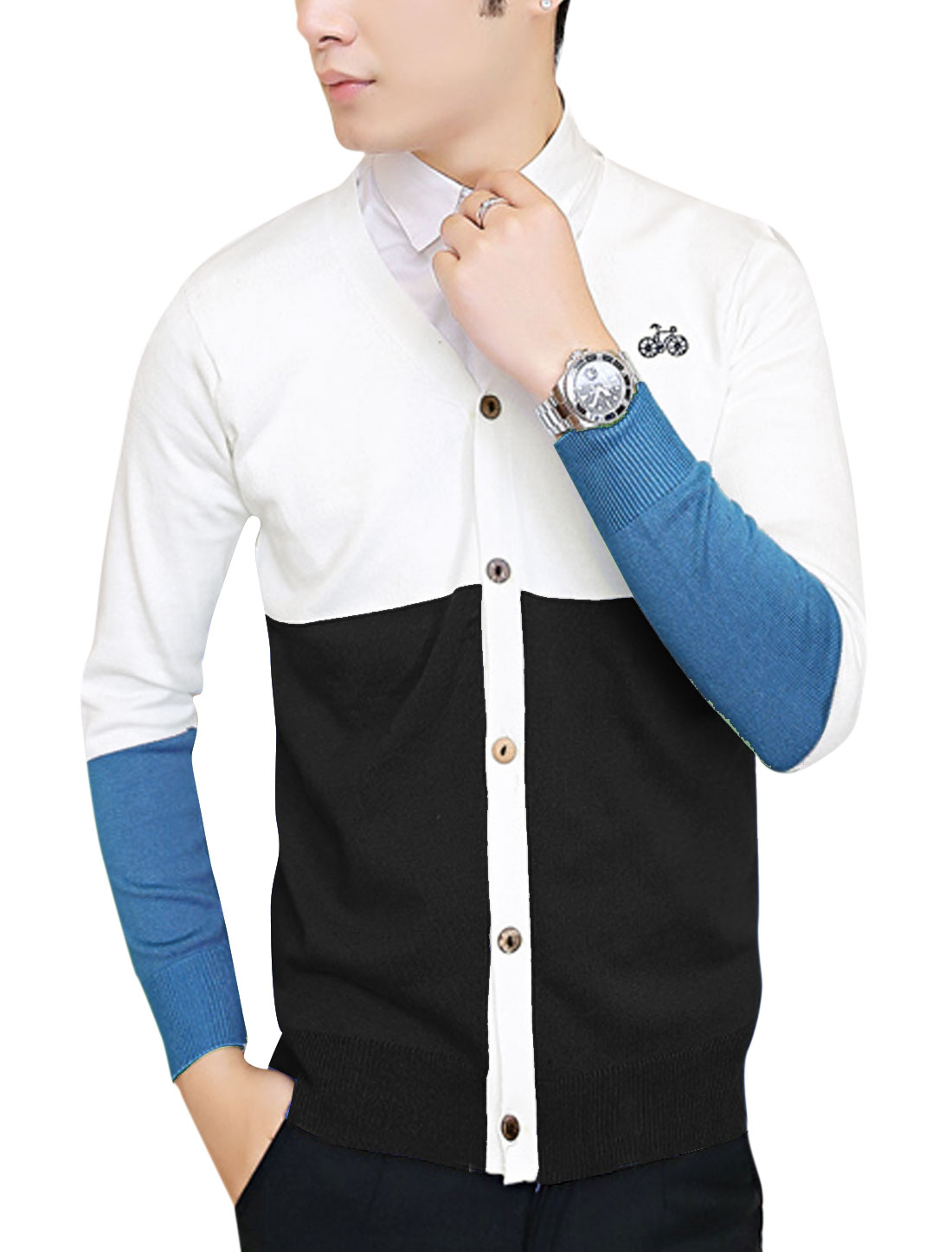 Men Color Block Single Breasted Embroidery Detail Cardigan Black White S
