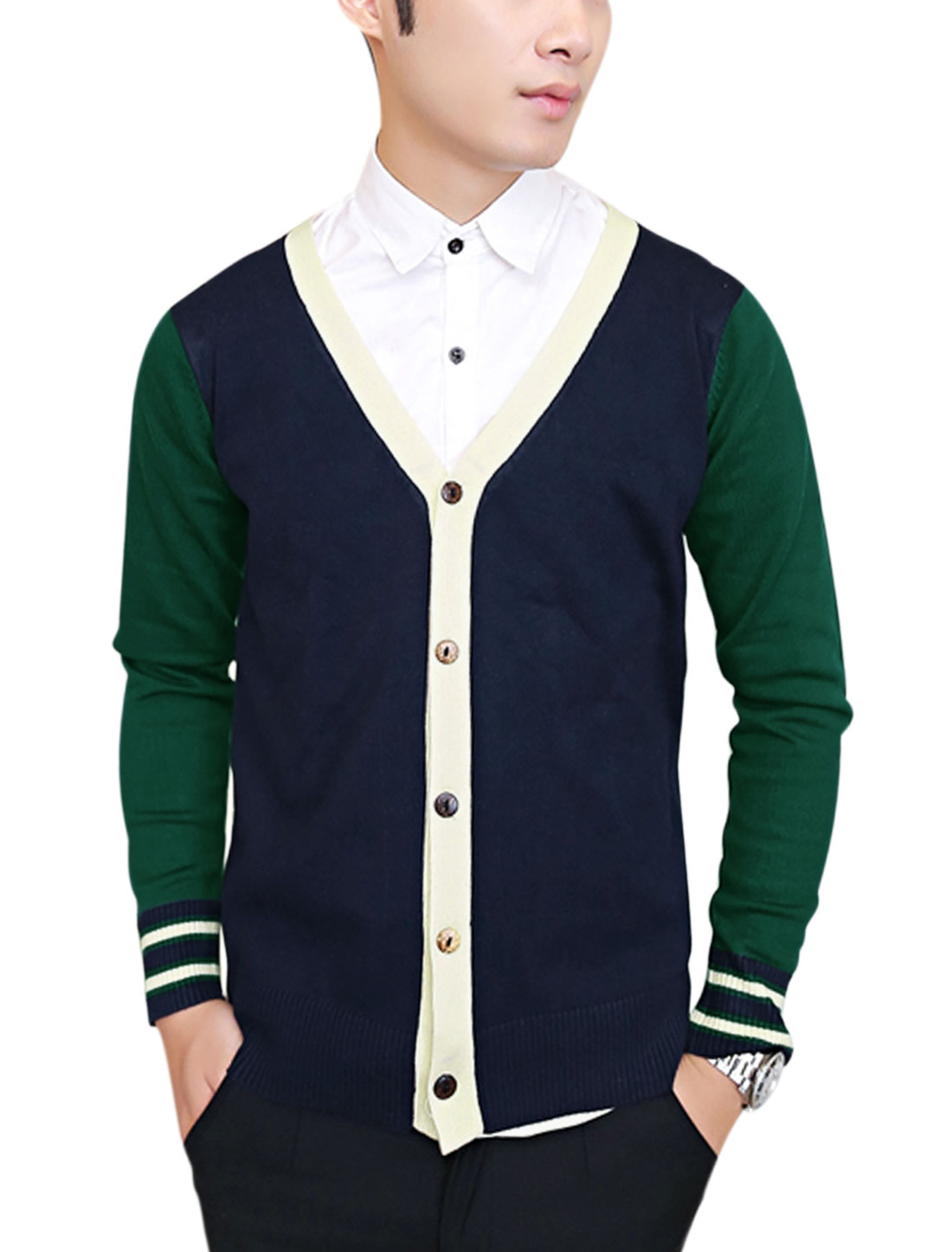 Men Contrast Color Ribbed Hem Slim Cardigan Dark Green Navy Blue S