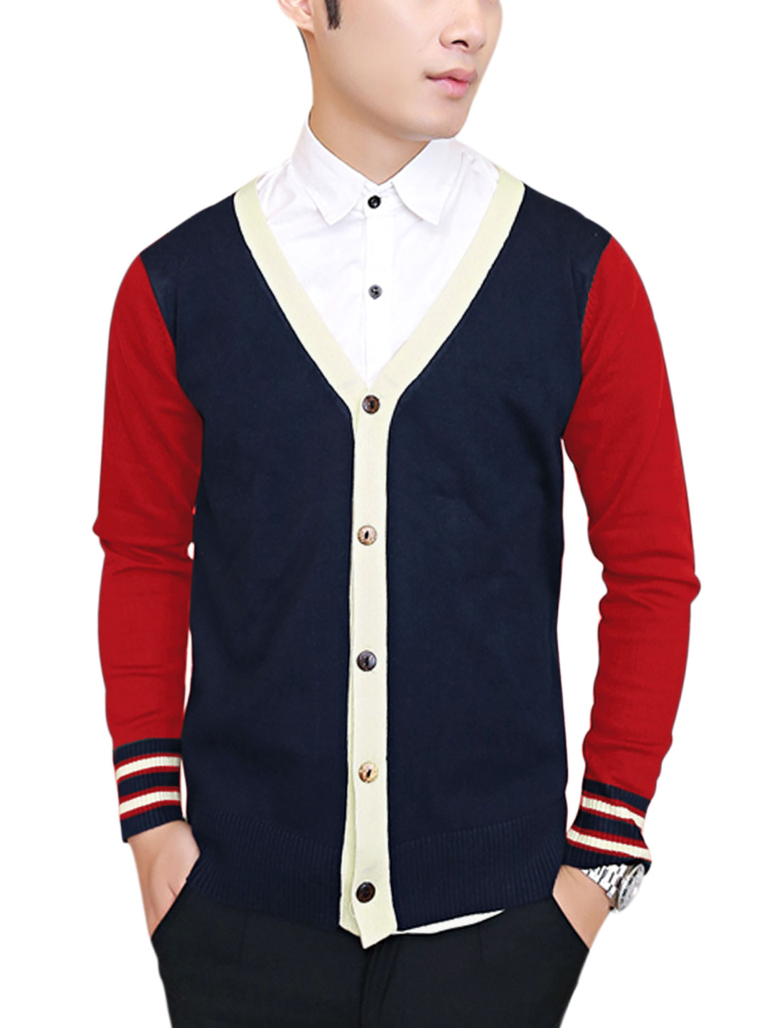 Men Button Closure Front Color Block Leisure Cardigan Red Navy Blue S
