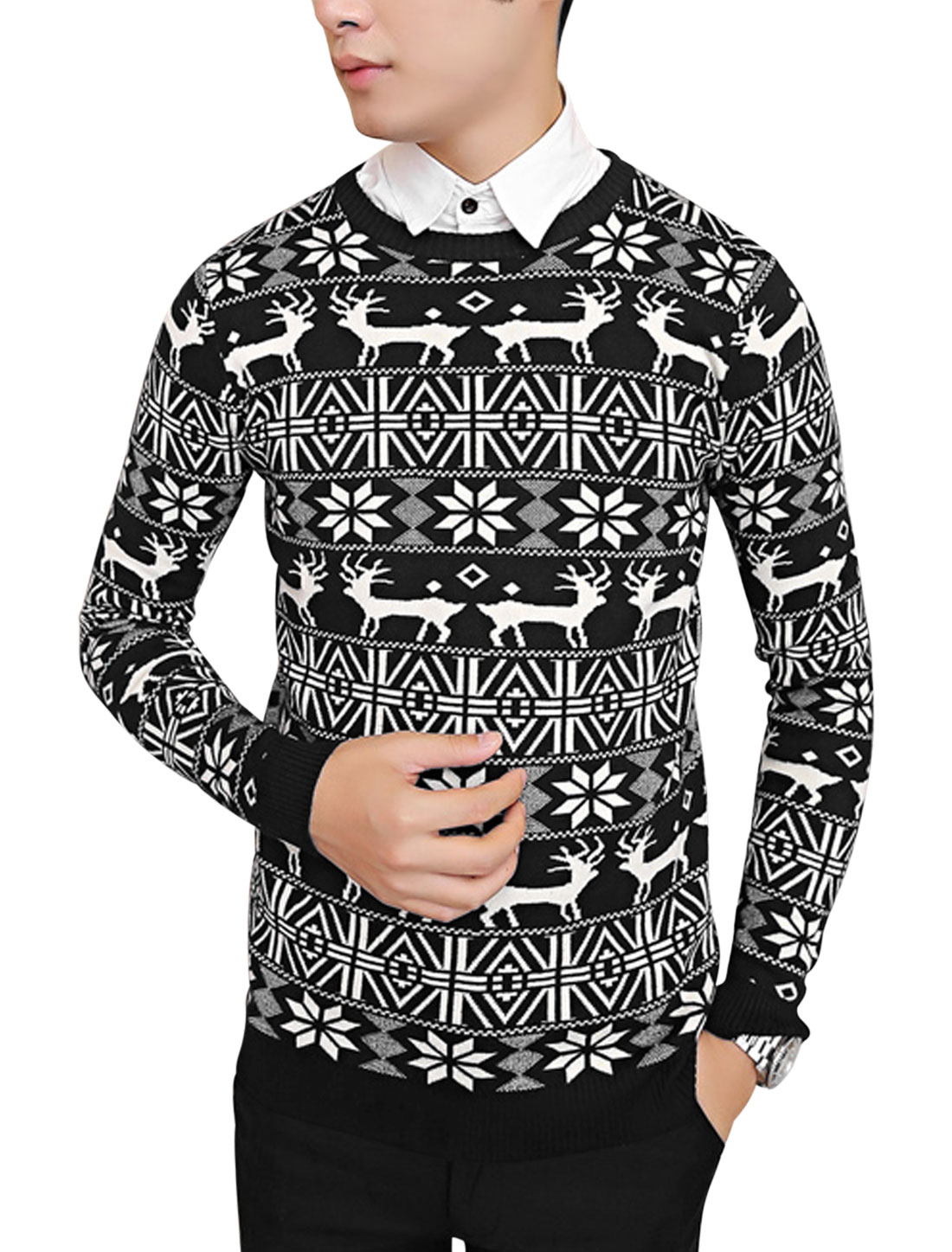 Men Pullover Geometric Deer Pattern Casual Knit Shirt Black M