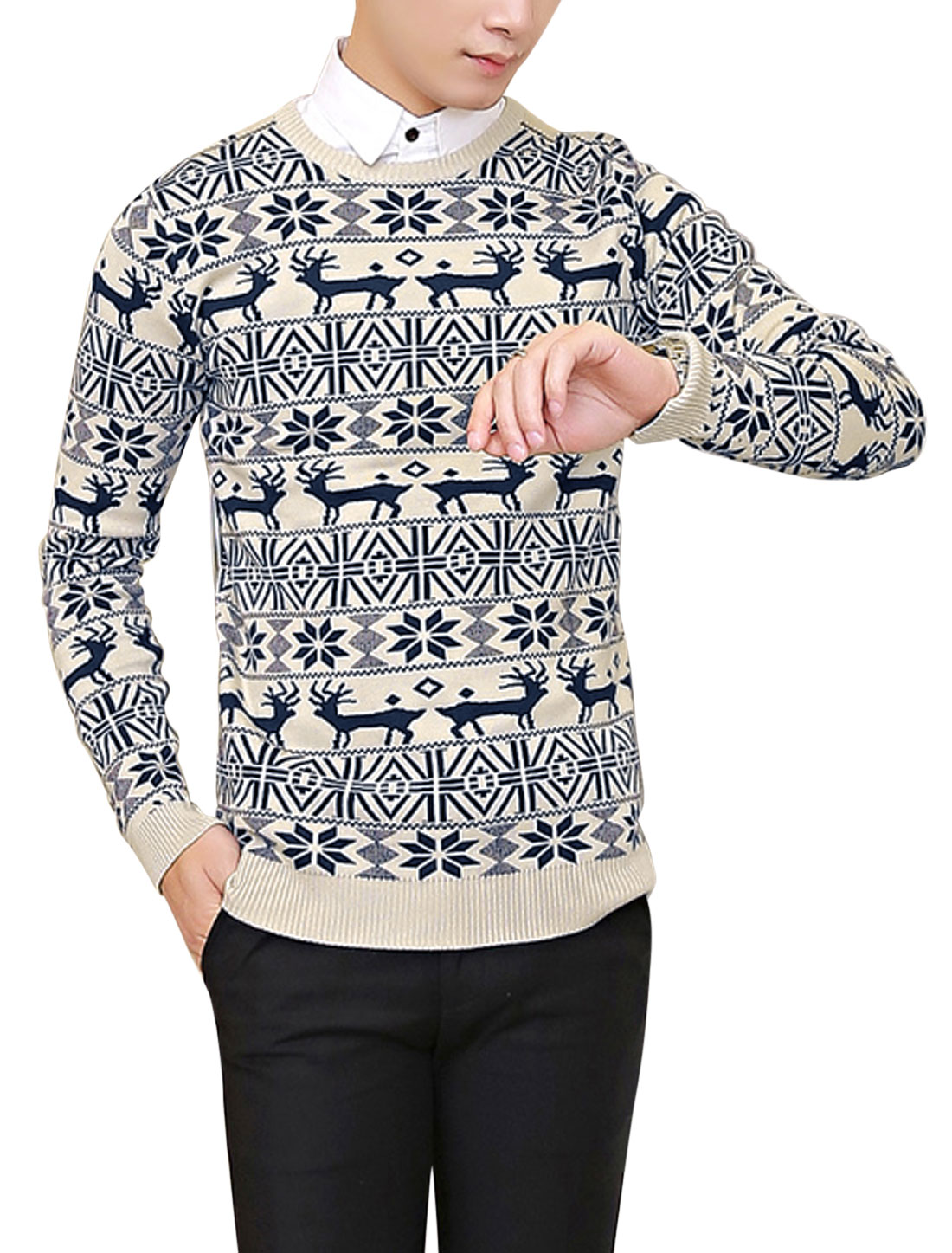 New Style Soft Pullover Geometric Pattern Knit Shirt for Men Beige M