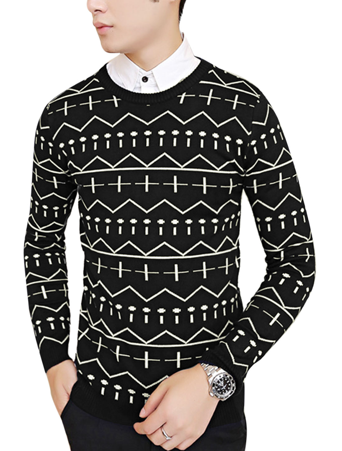 Men Pullover Zig-Zag Pattern Cozy Fit Knit Shirt Black M