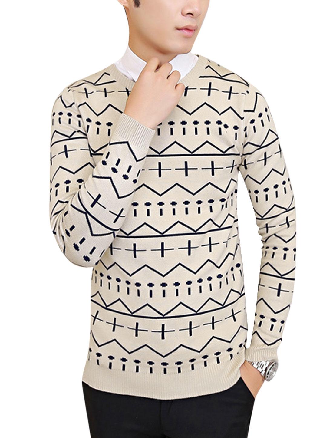 Slipover Round Neck Zig-Zag Pattern Casual Knit Shirt for Men Beige M