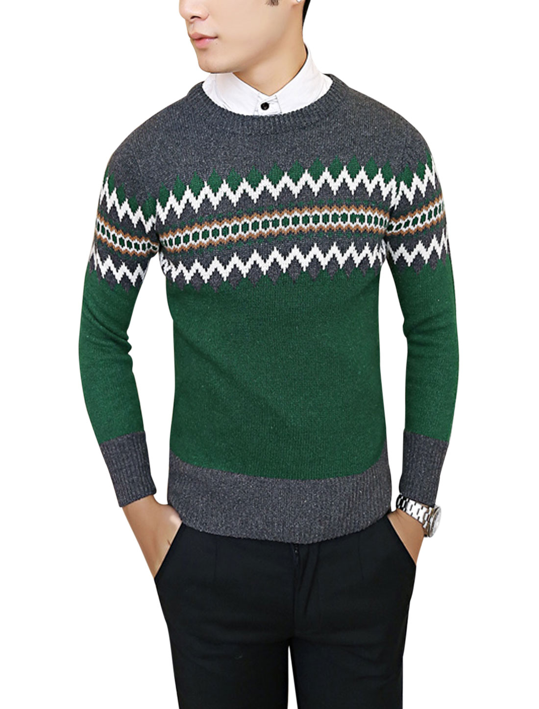 Men Geometric Zig-zag Pattern Color Block Casual Knit Shirt Dark Gray Dusty Green S