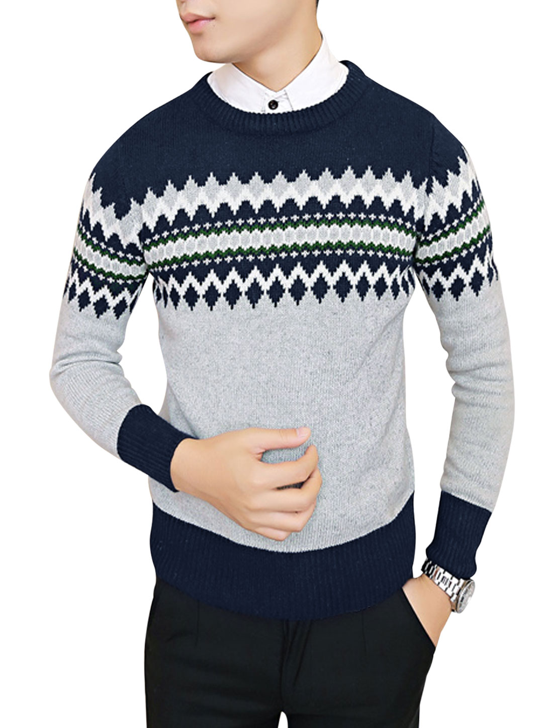 Slim Fit Pullover Crew Neck Color Block Knit Shirt for Men Navy Blue Light Gray S