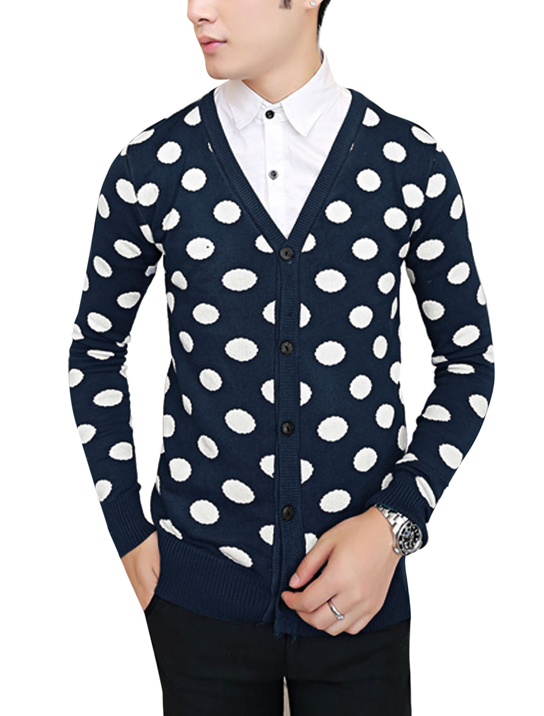 Men Single Breasted Dots Pattern Stylish Cozy Fit Cardigan Navy Blue S