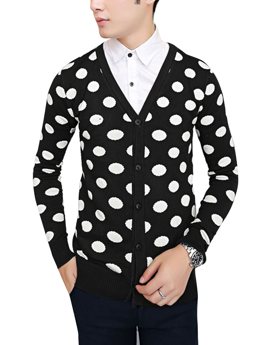 Men V Neck Long Sleeve Dots Pattern Slim Fit Cardigan Black S