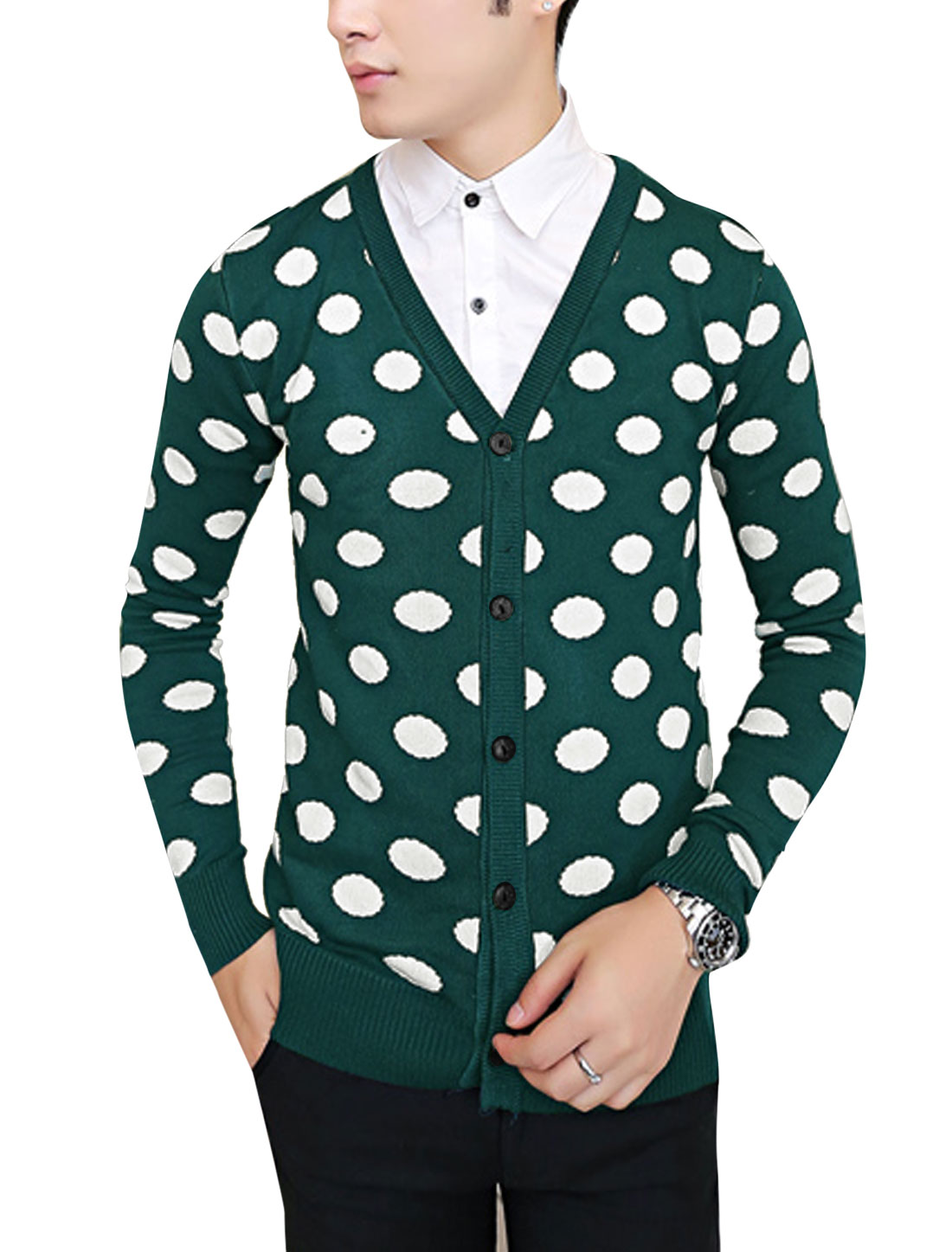 Leisure Soft V Neck Dots Pattern Cardigan for Men Dusty Green S