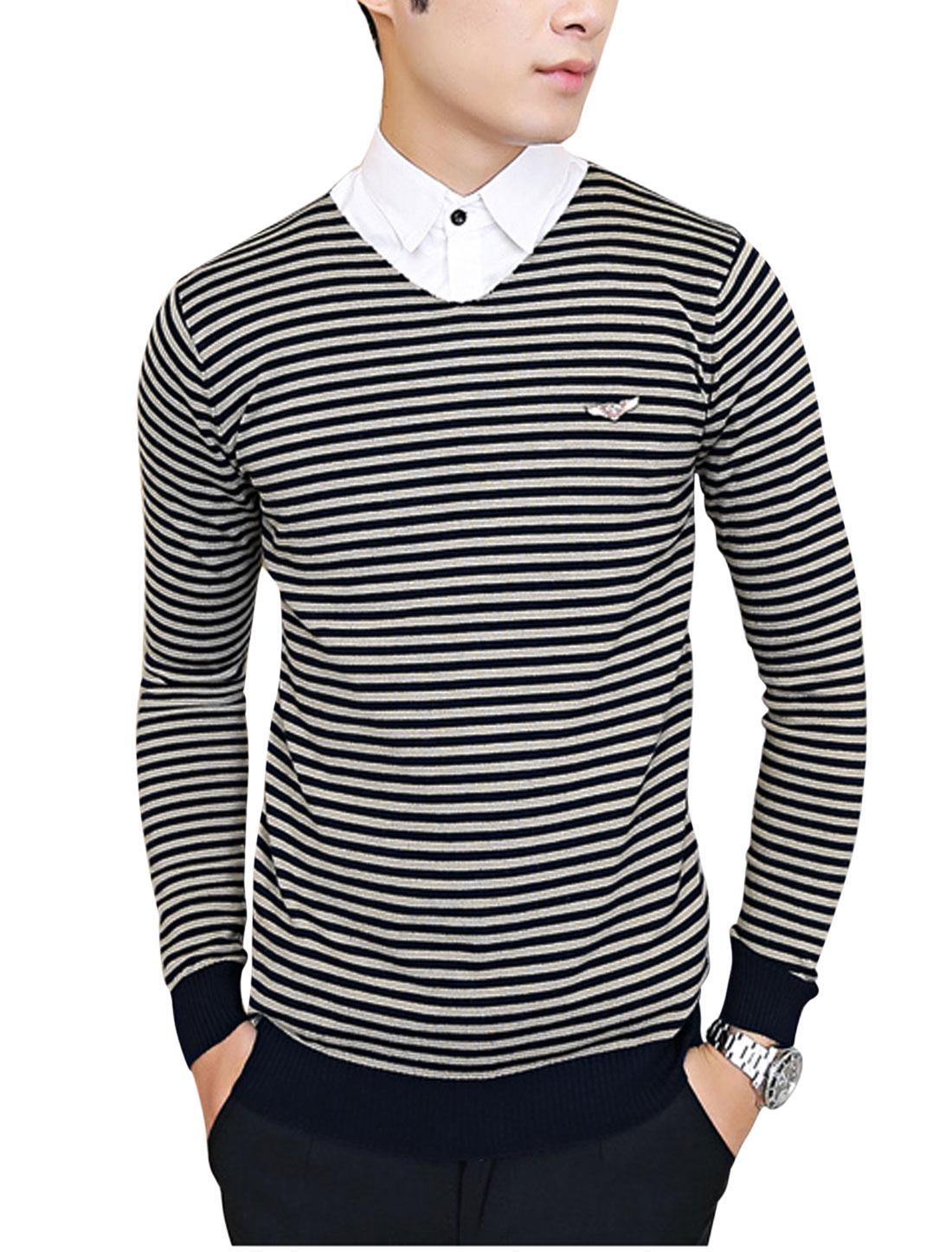 Men V Neck Stripes Long Sleeve Ribbed Hem Knit Shirt Navy Blue Camel S