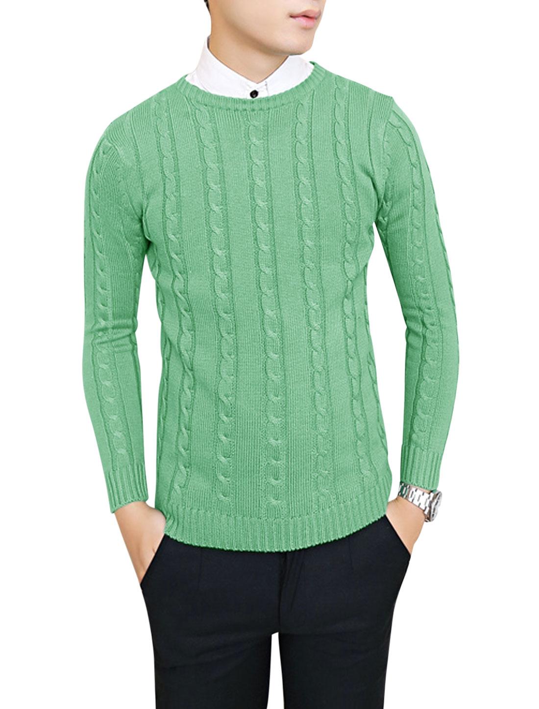 Men Long Sleeve Crew Neck Braided Sweater Light Green S