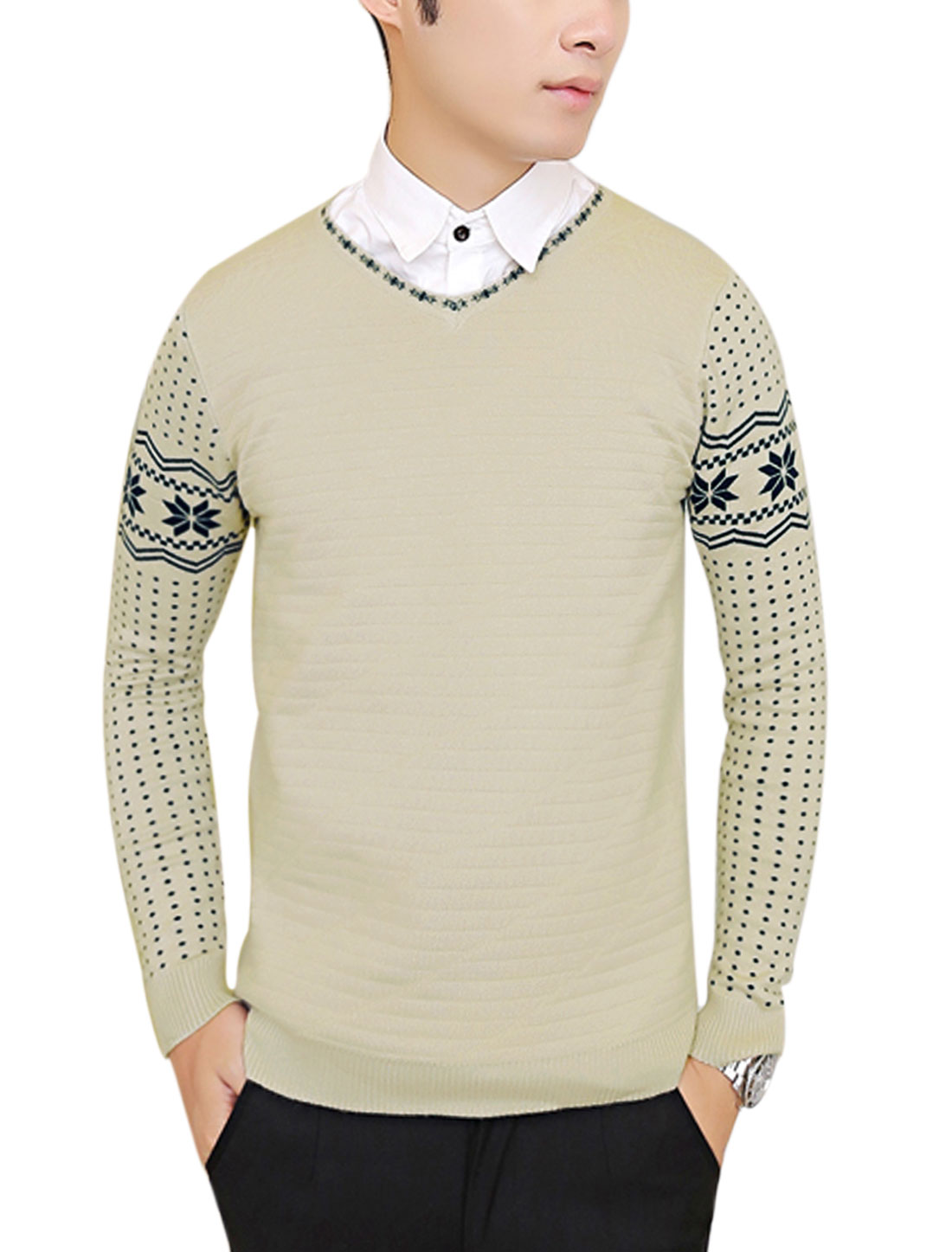 New Style Casual Pullover Geometric Pattern Knit Shirt for Men Beige M